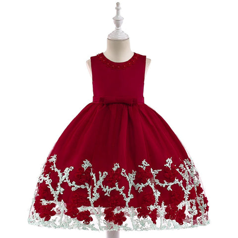 Cute Princess Flower Girls Red Dress With Bow Elegant Flower Necklace Girls Party Claret Gown Dress L5028