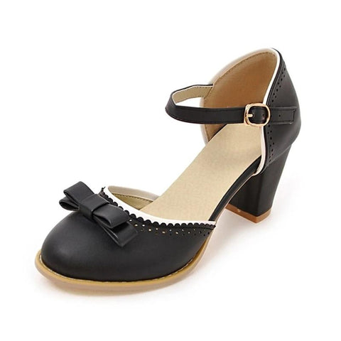 Big Size 32-43 Women Pumps Mary Jane buckle Strap Leisure Chunky Heel Shoes Summer bowtie Pumps