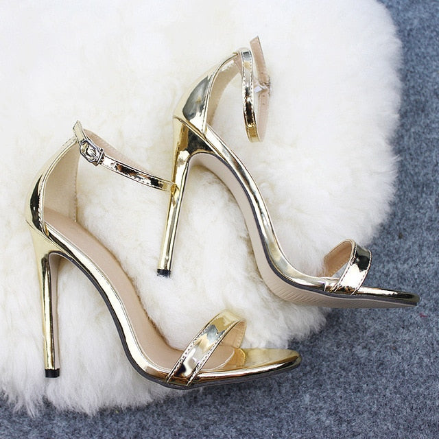 Woman Sexy Peep Toe Stiletto High Heel Shoes Sandals Party Dress Gold Silver Wedding Shoes EU43