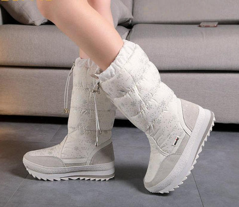 Knee-High Girls winter boots zipper up shoe white colour new season top quality soft warm fur free shipping teenager female