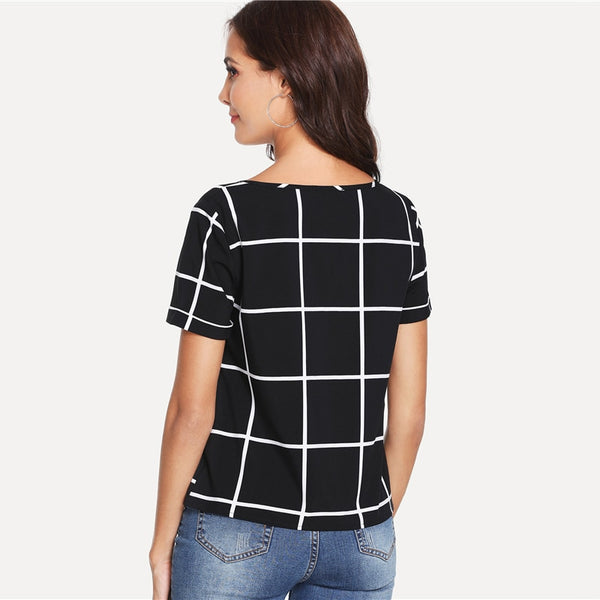 Plaid Buttoned V Neck Top Black and White Short Sleeve Casual Office Ladies Blouse Women Summer Workwear Blouse