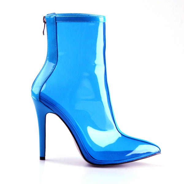 New New Women PVC ankle Boots Super high heels women shoes sexy Transparent boots Pointed toe crystal handmade