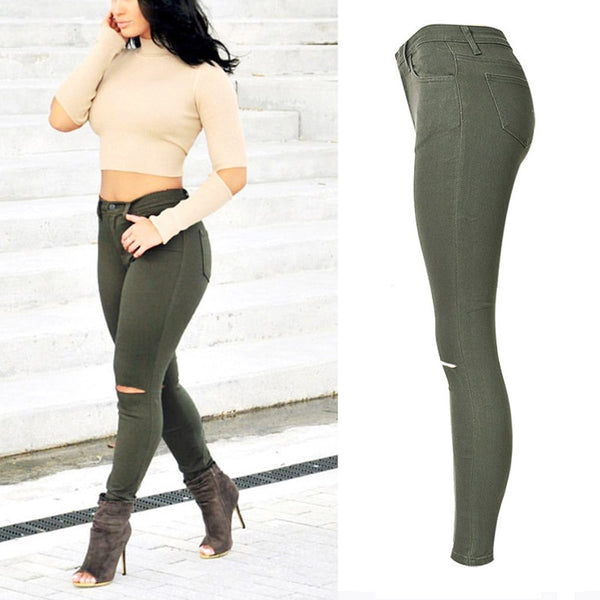 High Waist Ripped Jeans For Women Pencil Denim Camouflage Pants Ladies Vintage Army Green Trousers Skinny Joggers Women
