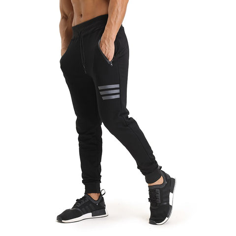 Men spring Jogger Pants Zip Pocket Sweatpants Men Elastic Waistband Casual Cotton Long Pants  For Men Casual Trousers Homme