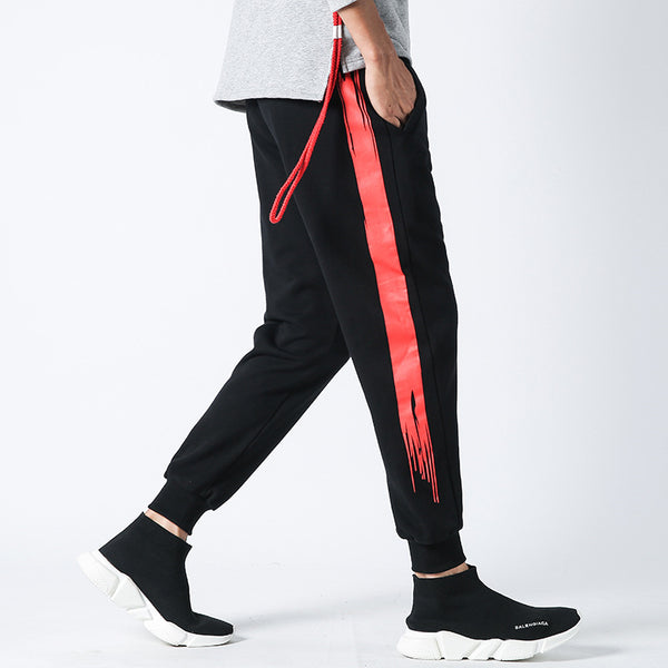 Men Hip Hop Streetwear Pants Casual Sweatpants Jogger Fitness Male Fashion Side Stripe Track Trousers Plus Size M-5XL