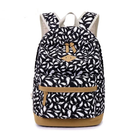 children's backpack kids bag school bags for girls feather printing canvas backpack for laptop book bag girl schoolbag