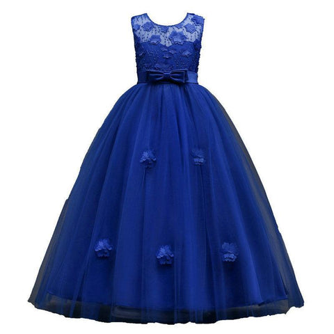 Six Color Appliques Long Ball Gown Flowers Girls Dresses For Weddings Kids Evening Gowns vestido longo