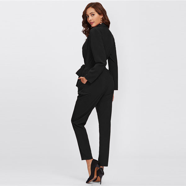 Plain Black OL Workwear Autumn Jumpsuit Wrap And Tie Detail Tailored Long Sleeve Pocket Women Elegant Jumpsuit