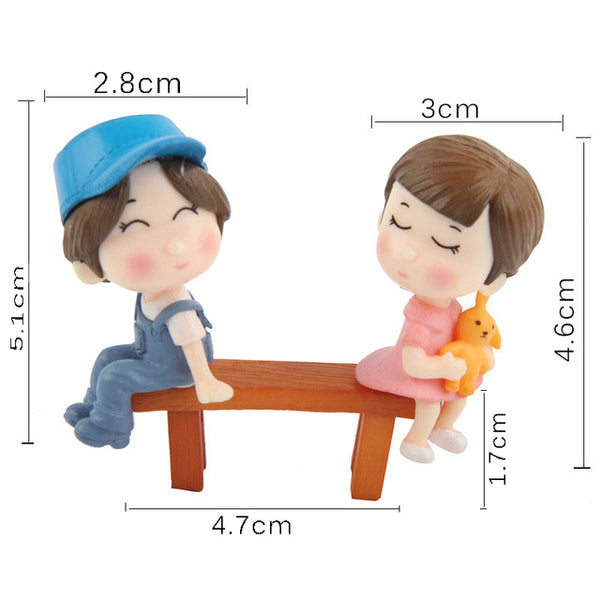 1set Sweety Lovers Couple Chair Figurines Miniatures Fairy Garden Gnome Moss Terrariums Resin Crafts Home Decoration