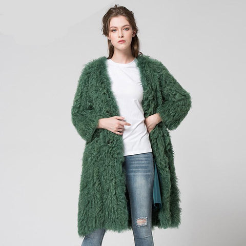 knit knitted Mongolian sheep fur coat jacket overcoat Russian women's winter warm fur  coat outwear longer style