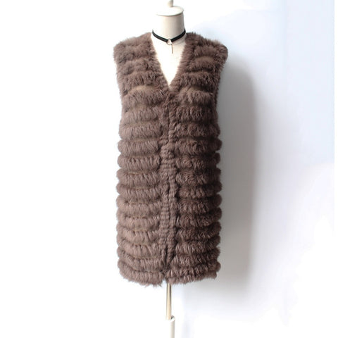 The new women's vest medium long winter fur vest comfortable rabbit fur vest a variety of color optional HN132