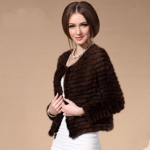 Sexy Women Autumn And Winter Female Real Knitted Real Mink With Striped Cut Fur  Natural Fur Short Coat Jacket