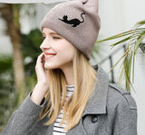 Winter Women Bow-Knot Cut Cat Knitted New Warm Fashion Girl Ladies Warm Caps Skullies Bonnet Femme #MZ814