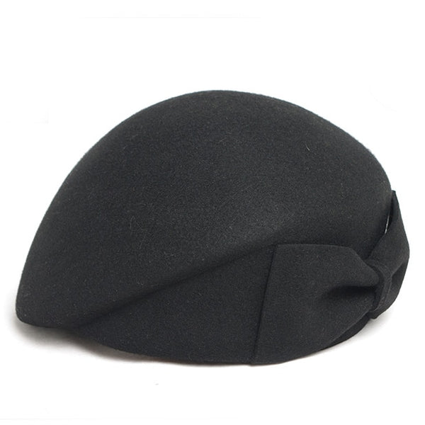 Australian Wool Felt Beret Hat Women British French Lady Artist Flat Cap Bow Boina Feminina Hats For Girls Berets