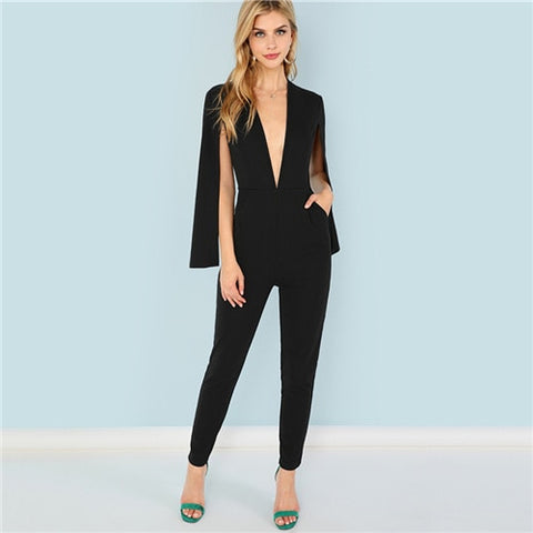 Black Highstreet Office Lady Plunging Neck Cloak Sleeve Modern Sexy Maxi Tapered Jumpsuit Autumn Women Workwear Jumpsuits