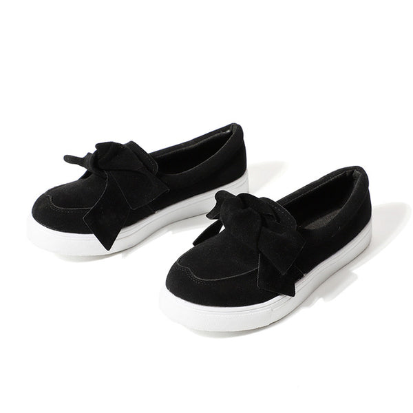 Women Loafers Plus Size Platform Slip On Bow Tie Flat Shoes Sewing Casual Bowknot Shoe For Female Flock Moccasins Footwear