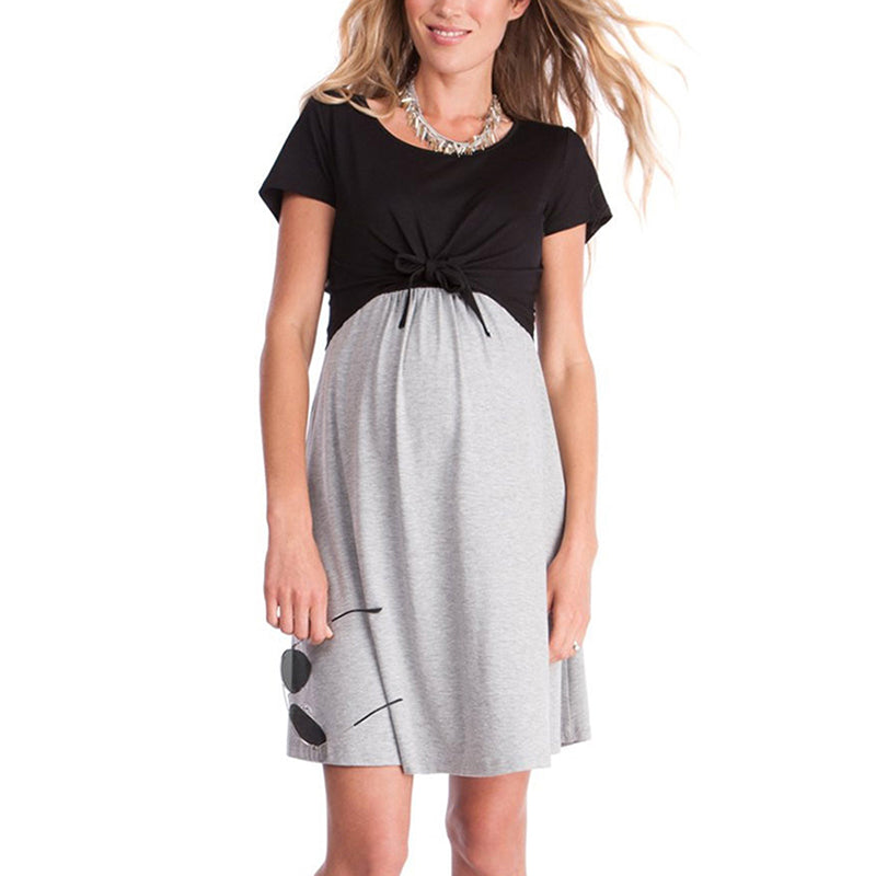 Plus Size Women Summer Pregnancy Dresses Short Sleeves Black ...