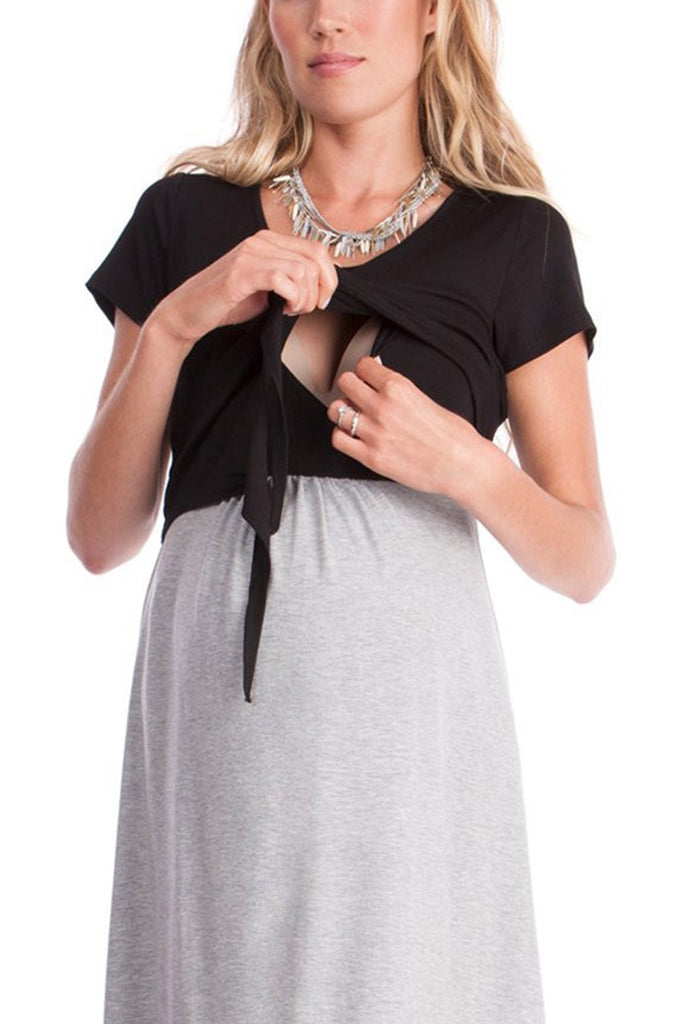 Plus Size Women Summer Pregnancy Dresses Short Sleeves Black Gray Maternity  Dress Nursing Breastfeeding Dress Pregnancy Clothes