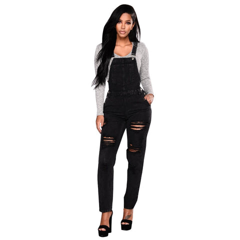 Rompers Women Denim Jumpsuits Summer Spring Denim Overalls Trousers Casual Ripped Hole Pants Slim Jeans D1135