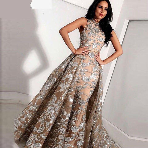 Long Grey Lace Mermaid High Neck Arabic Evening Dress kaftan Dubai Formal Evening Gowns with Detachable Skirt