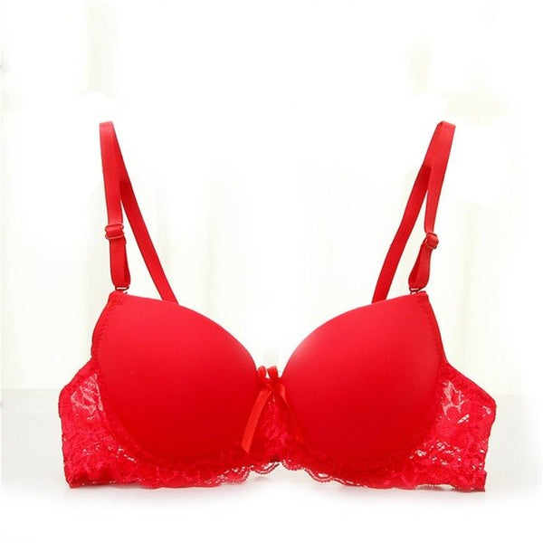 Women Sexy Underwire Padded Up Embroidery Lace Bra Brassiere Bra Push Up Bras A B Cup Soft Brassiere 9176