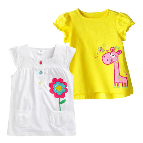 Girls Clothes Brand T-shirt Kids Clothing Animal Pattern Girls Summer Tops Tees  Cotton Children T-shirts rabbit tees