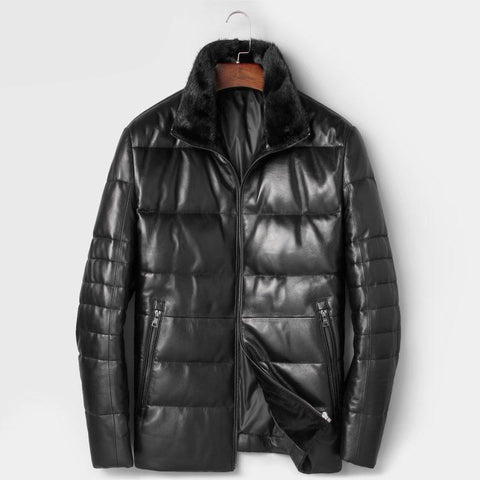 Men Genuine Leather Down Jackets Autumn Winter New Male Coat Designer Brand Mink fur collar 7165