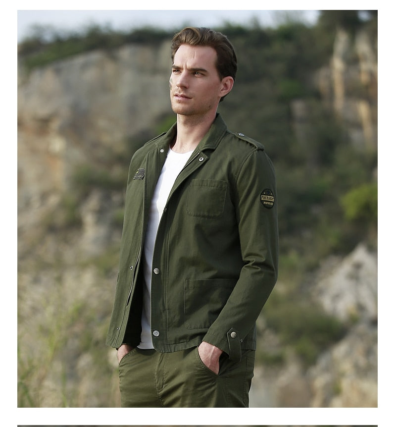 Free Army New Trench Coat Men Windbreaker Army Green Long Sleeve Spring Autumn Coat Turn-down Collar High Quality Coat