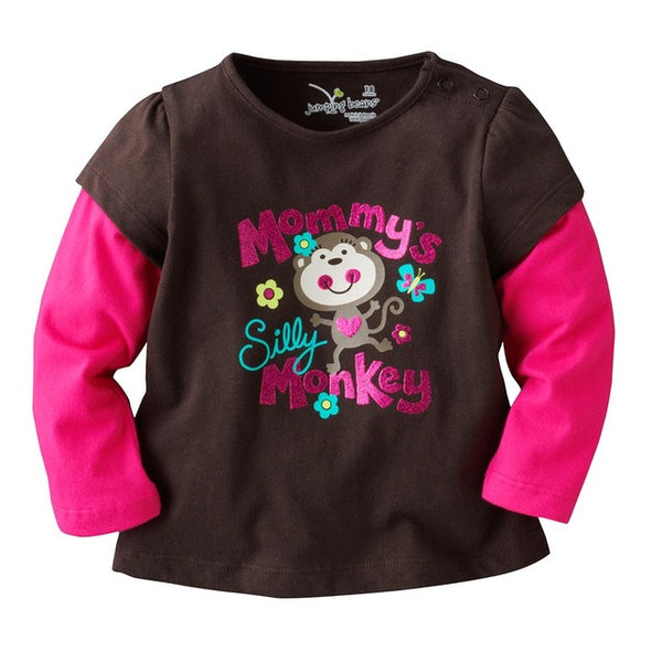 Lovely Girls T- Shirts Spring Long Children Tops 100% Cotton Baby Clothes 1 2 3 4 5 6 Years Tee Shirt Casual Kid Blouses