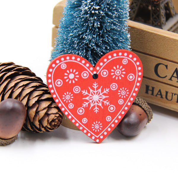 12PCS DIY White&Red Tree/Heart/Star Wooden Pendants Ornaments For Christmas Party Xmas Tree Ornaments Kids Gifts Decorations