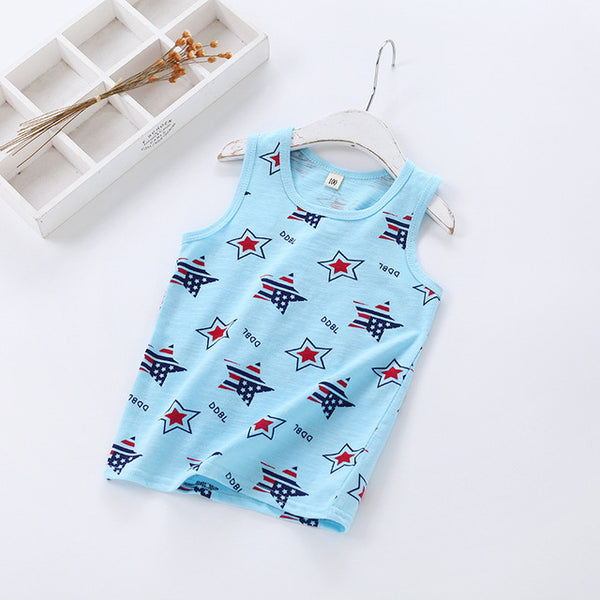 summer boys girls T shirt Pure cotton Slub printing Sailing Stars I-shaped kids vest Korean pinkycolor Children's clothing