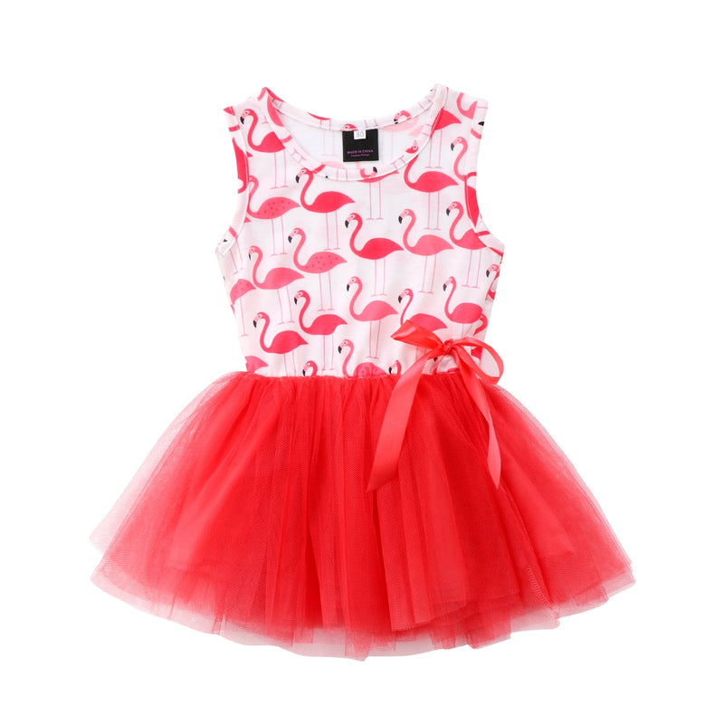 Red Flamingo Kids Baby Girls Dress Bow Tulle Sleeveless Princess Dress For Girls 2018 Summer Girls Party Holiday Dress