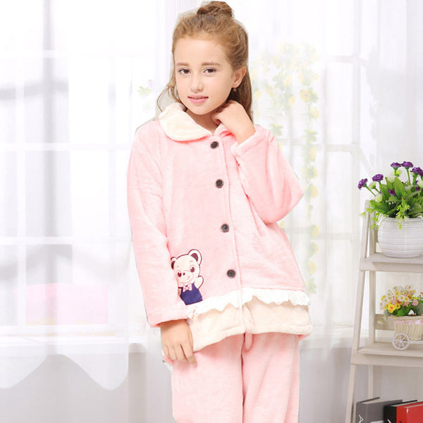 High Quality Teenage Girls Winter Pajamas Set Children Student Warm Flannel Cute Bear Cartoon Sleepwear Homewear 8-18 Years