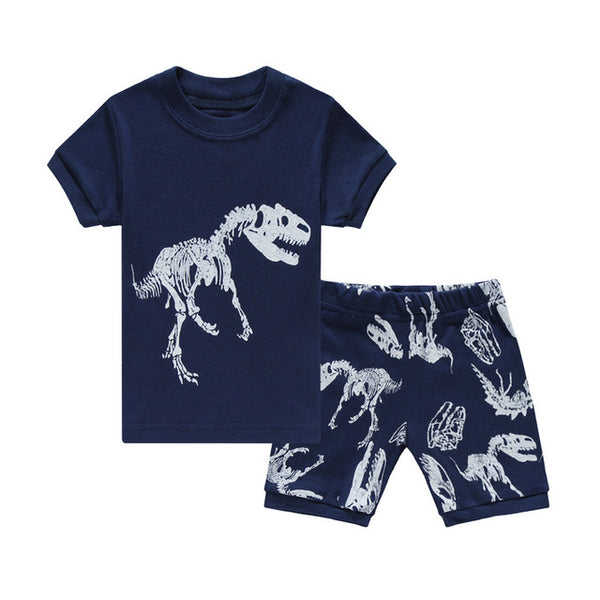 Blue Train Baby Boy Pajamas Clothes Sets 100% Cotton Cartoon Kids Home Wear 2 3 4 5 6 7 Year Children Tee Shirts Shorts