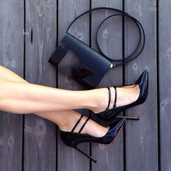 shoes,Elegant and stylish free shipping, black leather, 11 cm high-heeled shoes, pointed toe pumps.SIZE:34-45