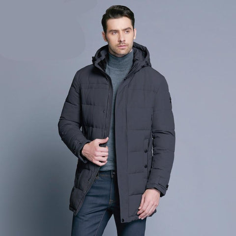 Soft Fabric Winter Men's Jacket Thickening Casual Cotton Jackets Winter Mid-Long Parka Men Brand Clothing 17MD962D