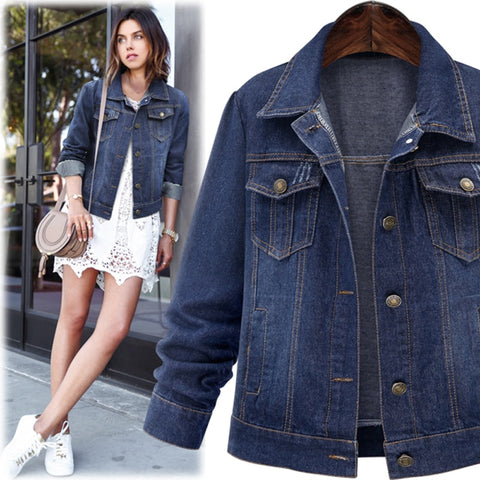 Autumn Winter Women Denim Jacket  Long Sleeve Short Denim Coat For Women Jeans Jacket Plus Size Outwear