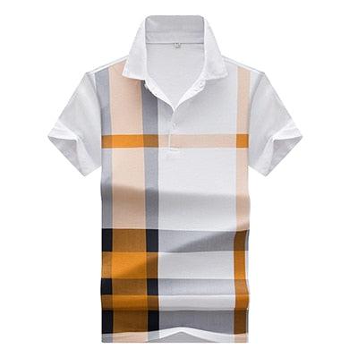 thin models Men's plaid hit color print POLO Shirt men's short-sleeved lapel polo shirt brand Men polos casual polo shirts