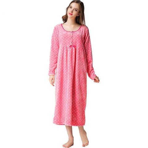 Nightie For Pregnant Women Winter Flannel Long Sleeve Nursing Sleepwear Maternity Nightwear Nightgown Maternity F38