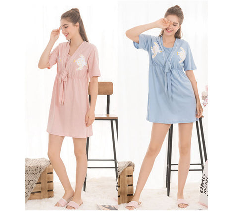 High Quality Cotton Maternity Pajama Bird Print V-neck Dresses for Pregnant Women Short Sleeves Breastfeeding Nursing Nightdress