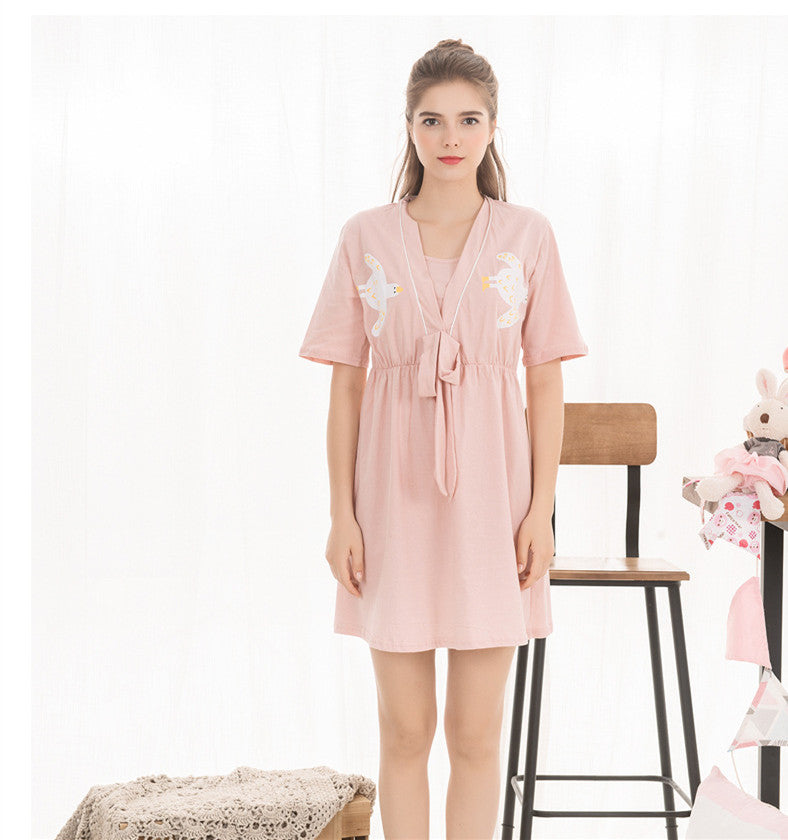 d397fcac49c6a ... High Quality Cotton Maternity Pajama Bird Print V-neck Dresses for  Pregnant Women Short Sleeves ...