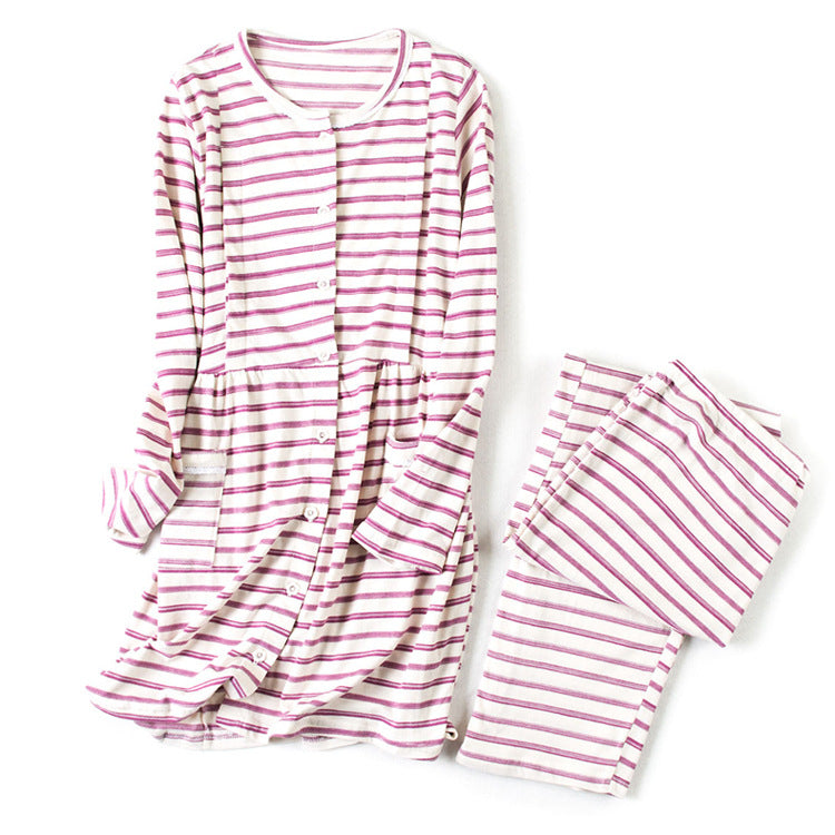 504689eb6ab ... Fashion Maternity Nightwear Long Sleeves Stripe Sleepwear Nursing  Cotton Button Pocket Pajamas for Pregnant Women Clothing ...