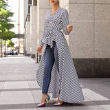 Women Autumn Fashion Casual Long Shirt Workwear Office Formal V-Neck Top Striped Tie Waist Dip Hem Irregular Blouse