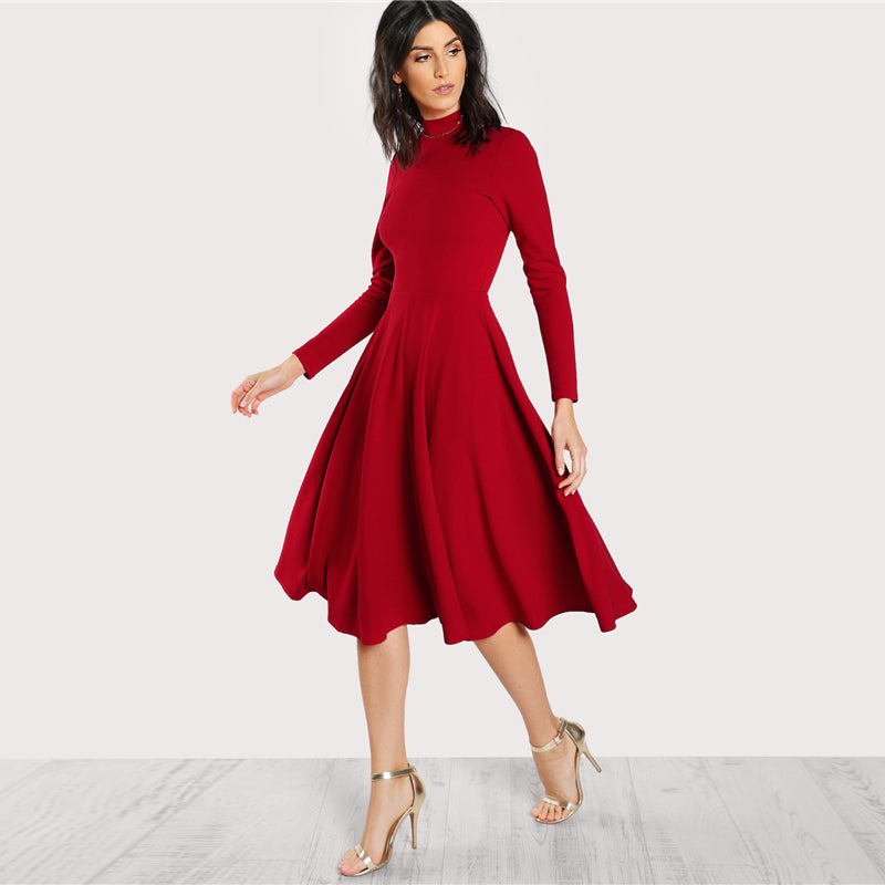 Plain Fit and Flare Elegant Midi Dress Office Ladies Mock Neck Pleated A Line  Women Long ... 5b3b80eaa9f6
