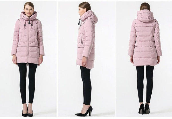 Women Winter Hooded Thickening Coat Fashion Slim Down Jacket Female Windproof Overcoat Casual Hooded Bio Down Parka