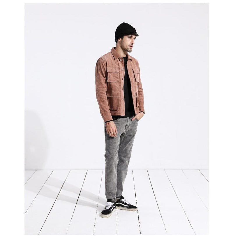 Autumn Jacket Men Casual Fit Corduroy Coats Fashion Brand 100% Pure Cotton Male Outwear Basic Clothing 180274