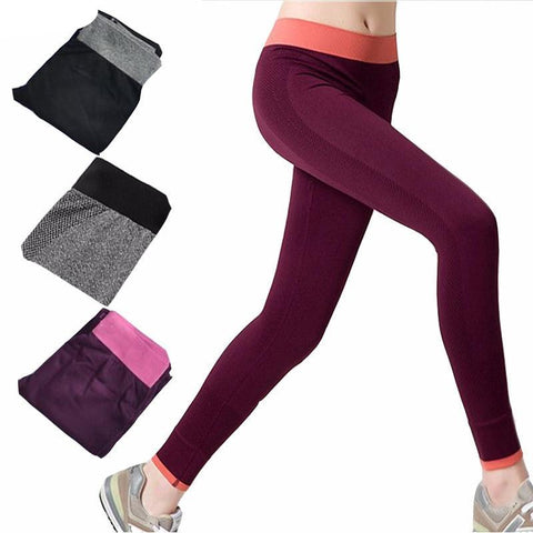 Women Yoga Pant Seamless Solid Fitness Skinny Sport Leggings Slim Jogging Capris Quick Dry Gym Pencil Trousers Exercise Jeggings