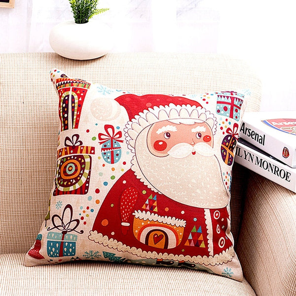 1Pcs 45*45 Cm Happy New Year Christmas Decorations for Home Cartoon Elk Linen Decorative Pillows Cover Navidad Natal