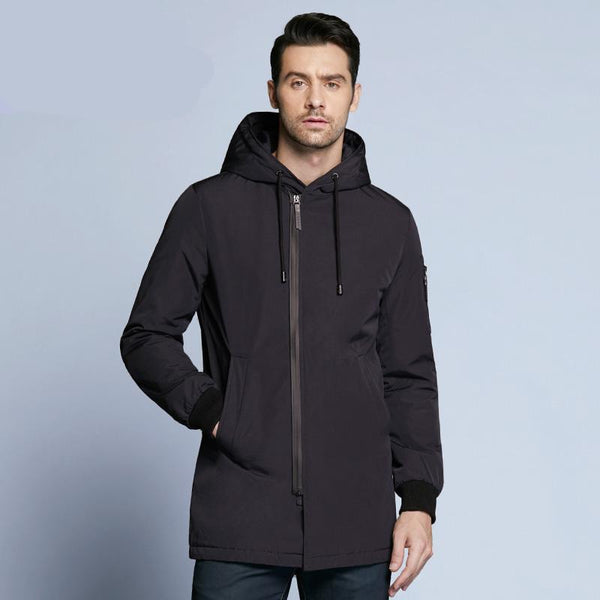 new autumnal men's coat clothing fashion man jacket diagonal placket hooded design high quality clothing MWC18031D
