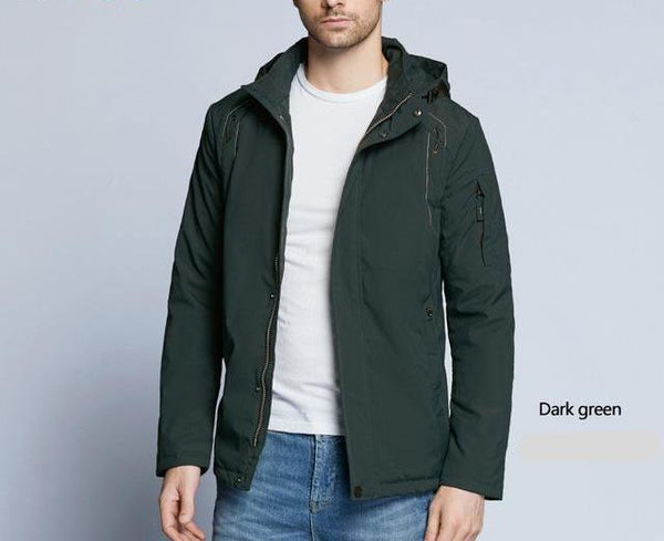 new autumnal men's coats windbreaker warm apparel cotton padded detachable hat brand hooded man jacket MWC18120D